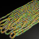 "AAA Ethiopian Opal Faceted Rondelle Beads Graduating 4mm 5mm 6mm Super Flashy Fiery Rainbow Orange Yellow 16.5"" Strand"