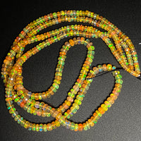 "AAA Ethiopian Opal Faceted Rondelle Beads Graduating 3.5mm 5mm Super Flashy Fiery Rainbow Honey Amber Orange 16.5"" Strand"