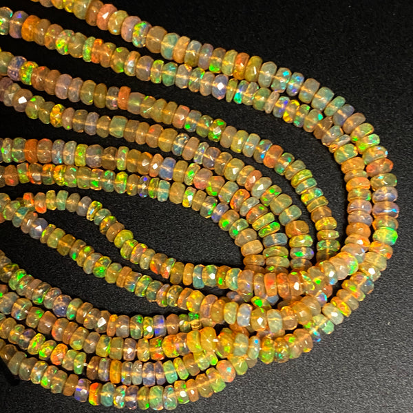 "AAA Ethiopian Opal Faceted Rondelle Beads Graduating 3.5mm 6mm Super Flashy Fiery Rainbow Honey Amber Orange 16.5"" Strand"