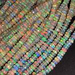 "AAA Large Ethiopian Opal Faceted Rondelle Beads Graduating 5mm 8mm Super Flashy Fiery Rainbow White Opal 18"" Strand"