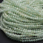 "Micro Faceted Natural Green Quartz Round Beads 2mm 3mm 16"" Strand"