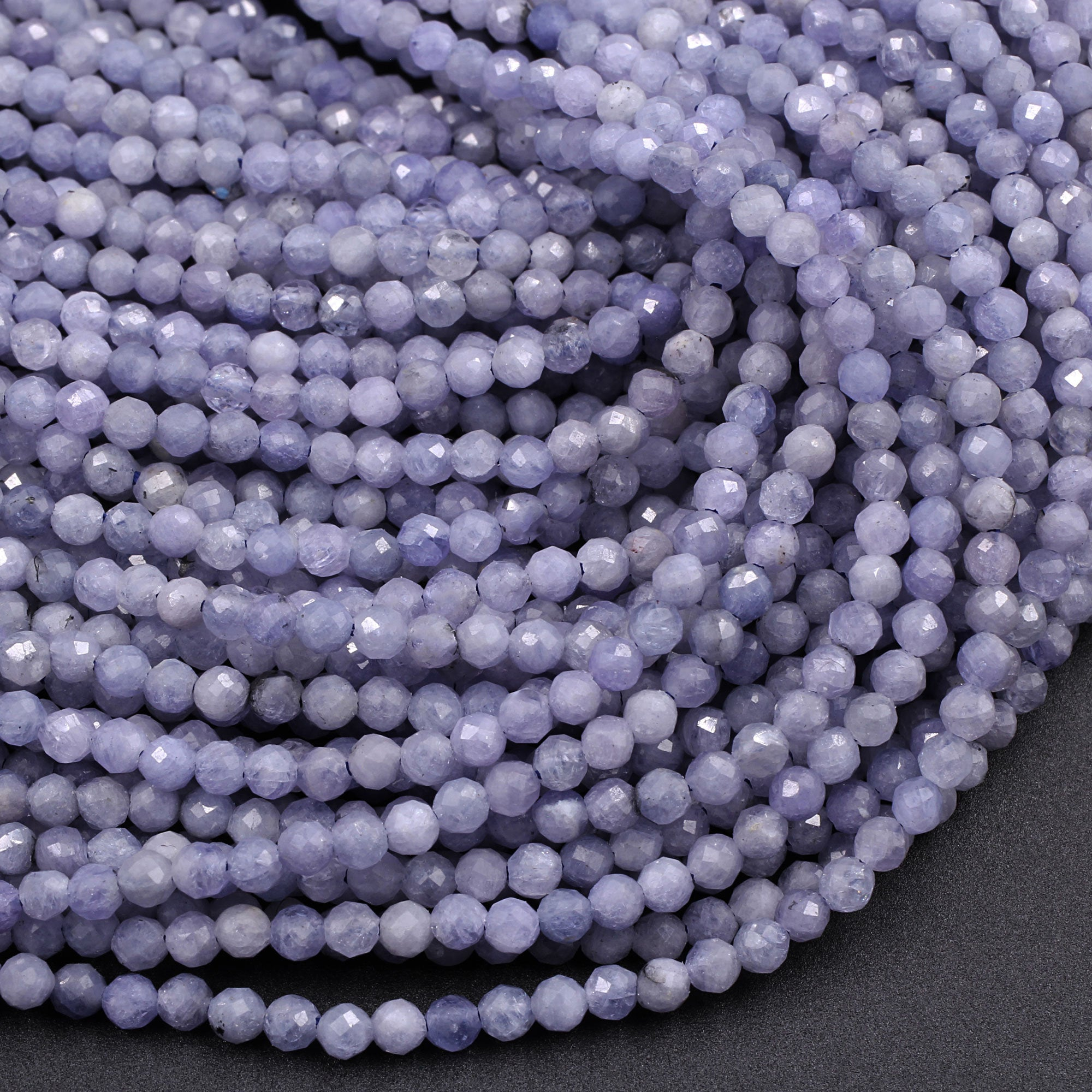 Details about  /16 Inch Long Micro Faceted Rondelle Natural Tanzanite Beads Size 3-3.5 MM