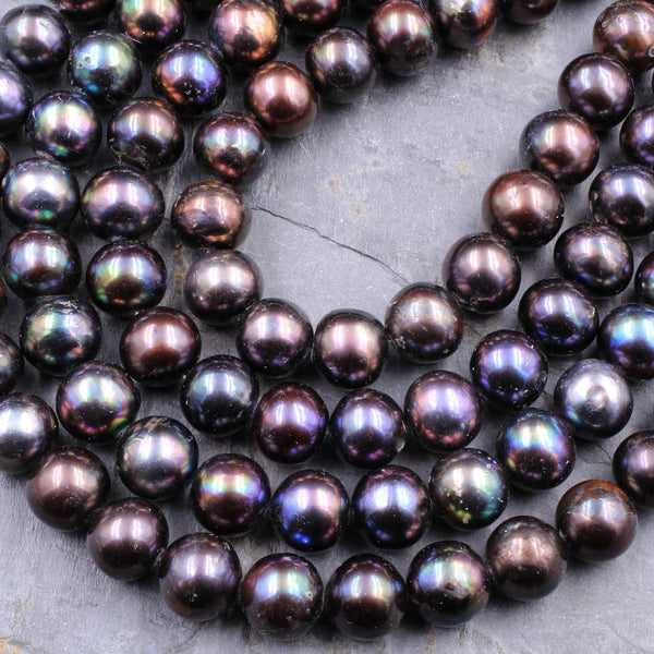 "Large Black Peacock Pearl 10mm 12mm Round Pearl Shimmery Iridescent Real Genuine Freshwater Pearl 16"" Strand"