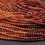 "Multicolor Natural Orange Hessonite Garnet Faceted 2mm 3mm Round Beads Diamond Cut Gemstone 16"" Strand"