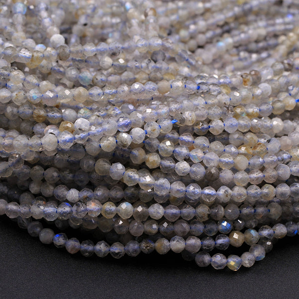 "Faceted Labradorite 2mm 3mm Round Beads 16"" Strand"