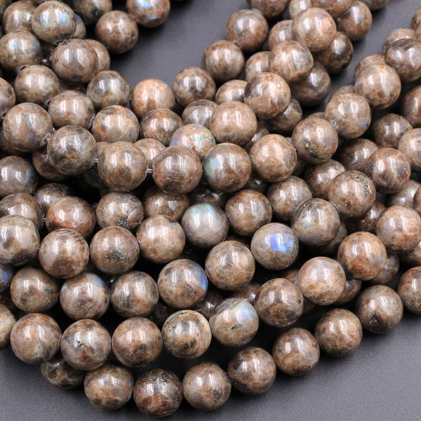 "Rare Natural Chocolate Labradorite 4mm 6mm 8mm 10mm 12mm Round Beads 16"" Strand"