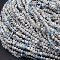 "AA Real Genuine K2 2mm Faceted Round Beads from Pakistan Afghanistan Sparkling Laser Diamond Cut Gemstone 16"" Strand"