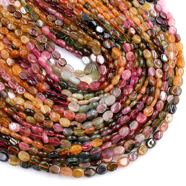 "Natural Watermelon Tourmaline Oval Beads Vibrant Pink Green Yellow Gemstone 16"" Strand"