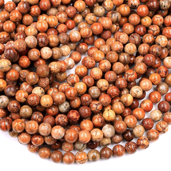 "Natural Rusty Orange Red Fossil Coral Round Beads 6mm 8mm From Indonesia 16"" Strand"