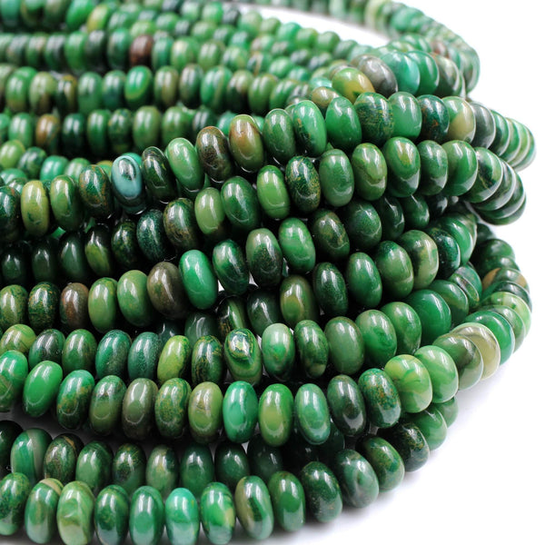 "Natural African Green Jade Beads 6mm 8mm Rondelle Beads 16"" Strand"