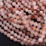 "Faceted Red Hematoid Lepidocrocite Quartz 6mm 8mm Round Beads Rare Red Quartz Crystal Powerful Energy Stone 16"" Strand"