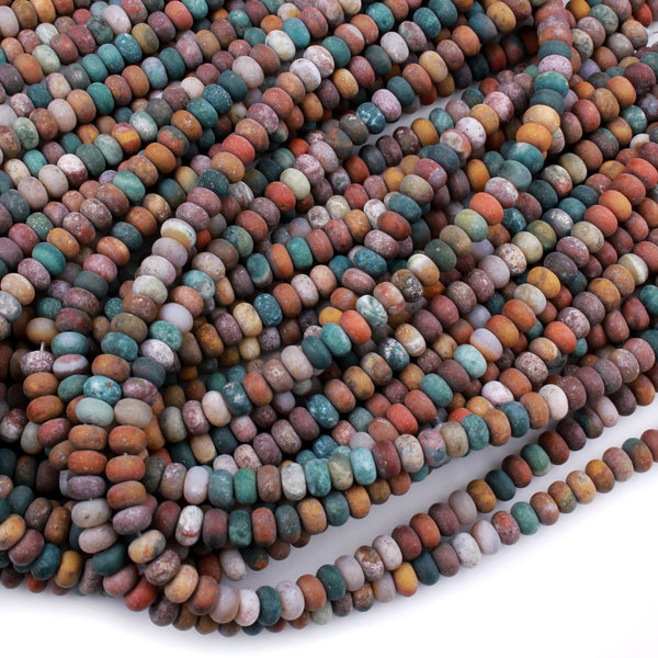 "Matte Rainbow Agate Rondelle Beads 6x4mm 8x5mm 10x6mm Earthy Red Green Yellow Brown Jasper 16"" Strand"