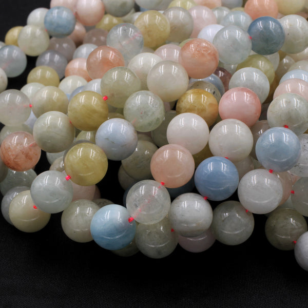 "Large Natural Blue Green Aquamarine Pink Morganite Round Beads 10mm 12mm 14mm 16mm 16"" Strand"