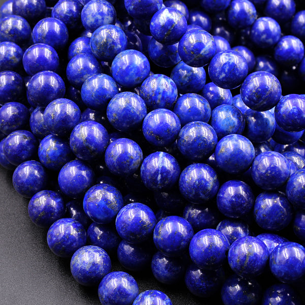 "AAA Genuine 100% Natural Blue Lapis 4mm 5mm 6mm 8mm Round Beads 16"" Strand"