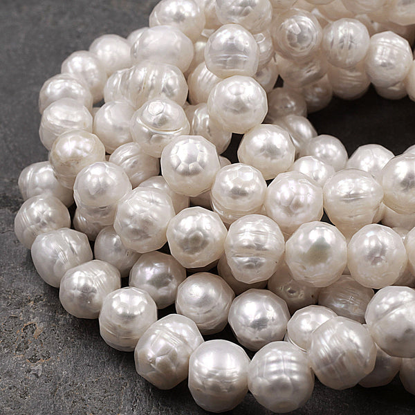 "Faceted Genuine Freshwater White Pearl 10mm 12mm Off Round 16"" Strand"