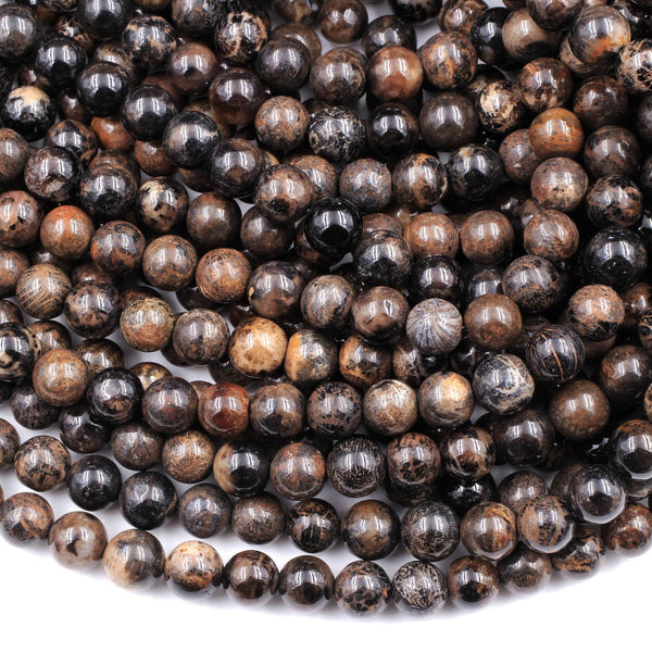 "Natural Dark Black Brown Fossil Coral 8mm Round Beads 16"" Strand"