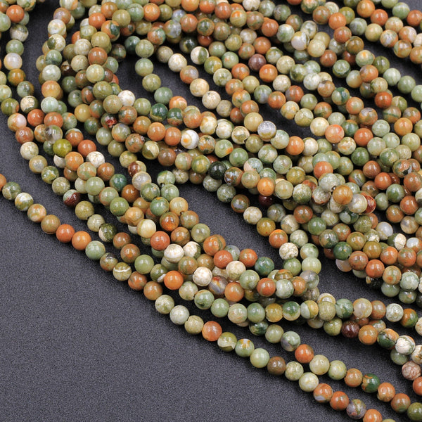 "Natural Rainforest Rhyolite Jasper 2mm Round Beads 16"" Strand"