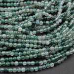"Natural Green Moss Agate 2mm Plain Smooth Round Beads 16"" Strand"