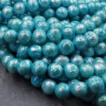 "Faceted Pearls Aqua Blue Freshwater Pearl 10mm Round Shimmery Iridescent Beads 16"" Strand"