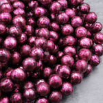 "Faceted Genuine Freshwater Pearl Fuchsia Wine Pearl 10mm Round Shimmery Iridescent Beads 16"" Strand"