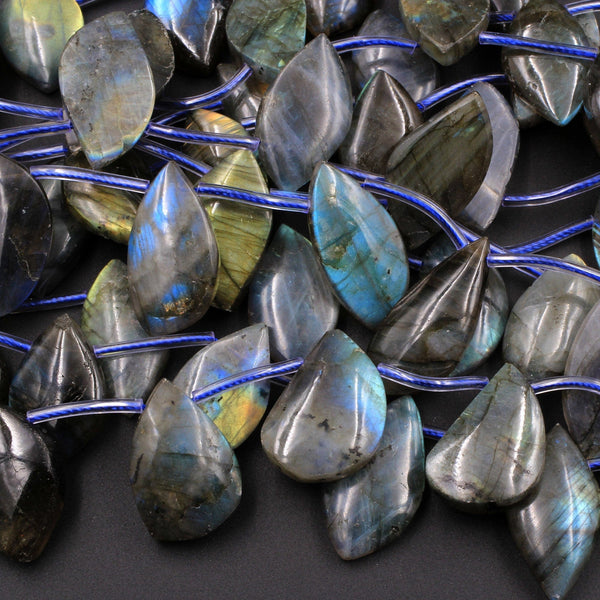 "Natural Labradorite Beads Freeform Leaf Shape Side Drilled Pendant Focal Tones of Blue Green Gold Flashes 16"" Strand"