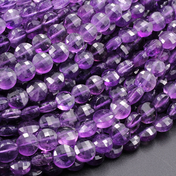 "AAA Faceted 6mm Purple Amethyst Coin Beads Flat Disc Dazzling Facets Natural Gemstone 16"" Strand"