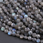 "Faceted 6mm Labradorite Coin Beads Flat Disc Dazzling Facets Natural Gemstone 16"" Strand"