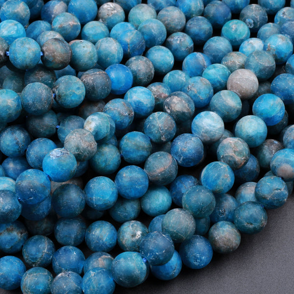 "Matte Natural Teal Blue Apatite 4mm 6mm 8mm 10mm Round Beads 16"" Strand"