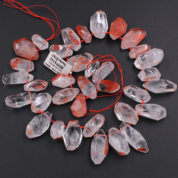 "Lepidocrocite Quartz Beads Faceted Freeform Teardrop Nuggets Large Healing Natural Red Quartz Crystal Focal Pendant Bead 16"" Strand"