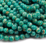 "Rare! Banded Russian Amazonite 6mm 8mm 10mm Round Beads W Gold Iron Matrix 16"" Strand"