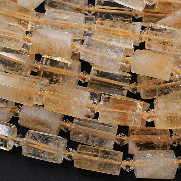 "Large Faceted Natural Citrine Tube Cylinder Beads 16"" Strand"