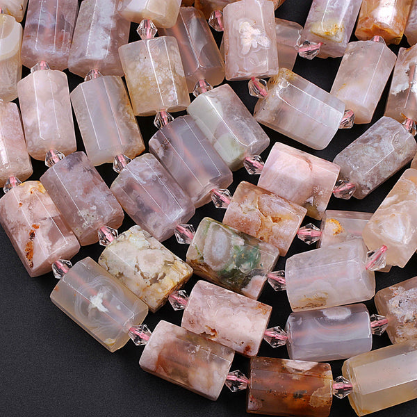 "Large Faceted Cherry Blossom Agate Tube Cylinder Beads 16"" Strand"