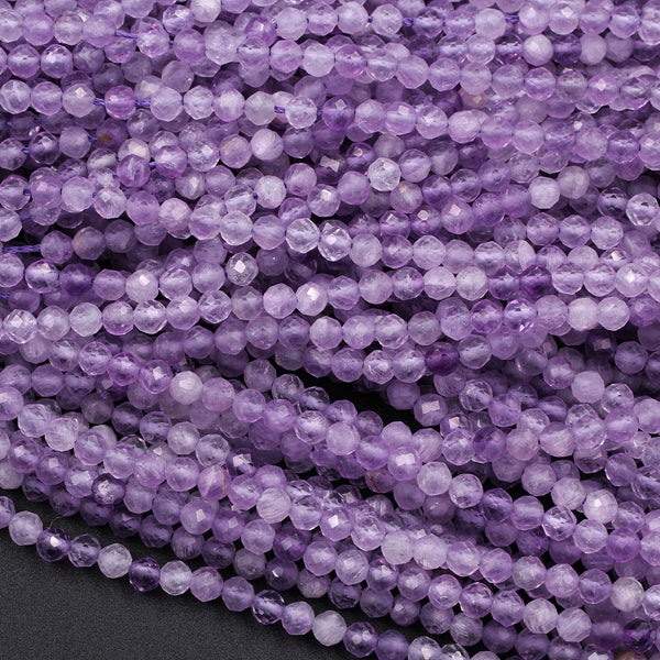 "Micro Faceted Natural Violet Purple Amethyst Round Beads 3mm 16"" Strand"