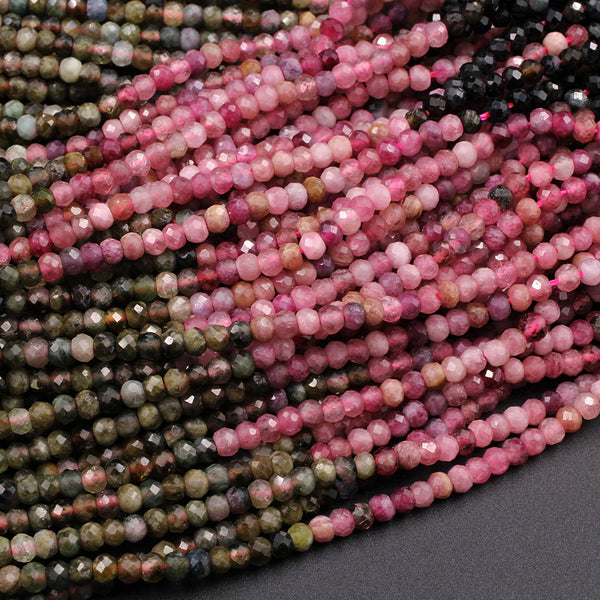 """113-073 Natural Multi Tourmaline Gemstone Rondelle Faceted Beads 16/"""" 1 Strand"""