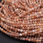 "Faceted Natural Peach Moonstone Round Beads 3mm 4mm 16"" Strand"