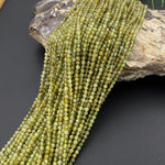 "AAA Micro Faceted 3mm Natural Green Garnet Round Beads Sparkling Laser Diamond Cut Gemstone 16"" Strand"