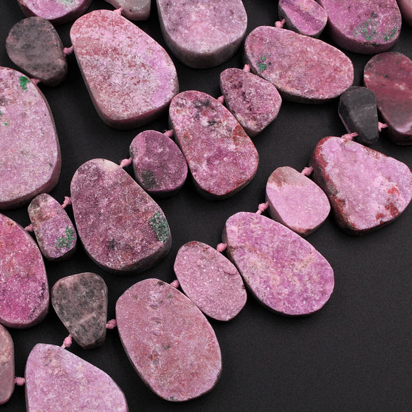 "Natural Pink Cobalto Calcite Drusy Teardrop Focal Pendant Beads 16"" Strand"