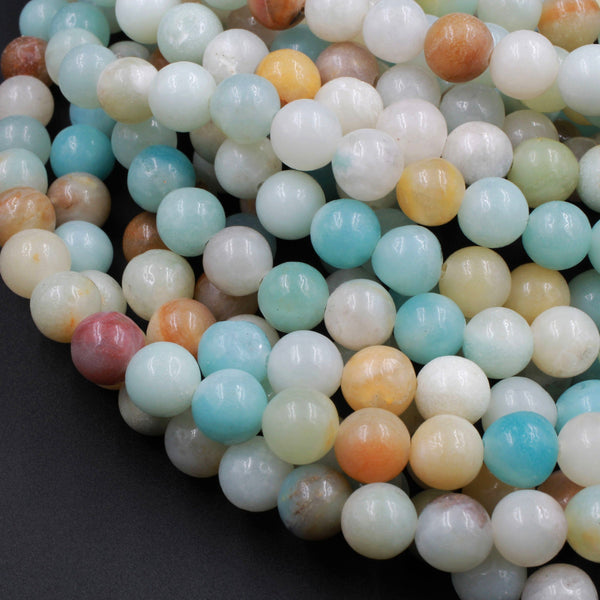 "Natural Amazonite Round Beads 4mm 6mm 8mm 10mm A Grade Multicolor Amazonite 16"" Strand"