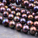 "Large Black Pearls 9mm 10mm Round Extra Brilliant Golden Copper Purple Blue Peacock Iridescence Real Genuine Freshwater Pearl 16"" Strand"