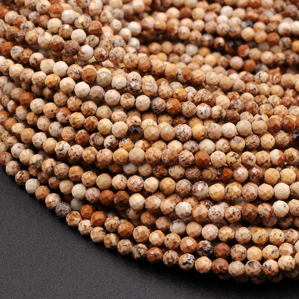 "Micro Faceted Natural Desert Picture Jasper Round Beads 2mm 3mm 16"" Strand"