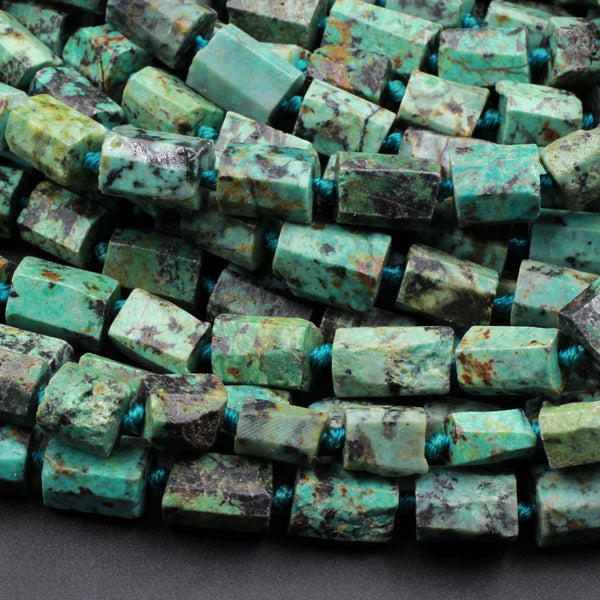 "A Grade Natural African Turquoise Beads Faceted Tube Organic Raw Cut 16"" Strand"