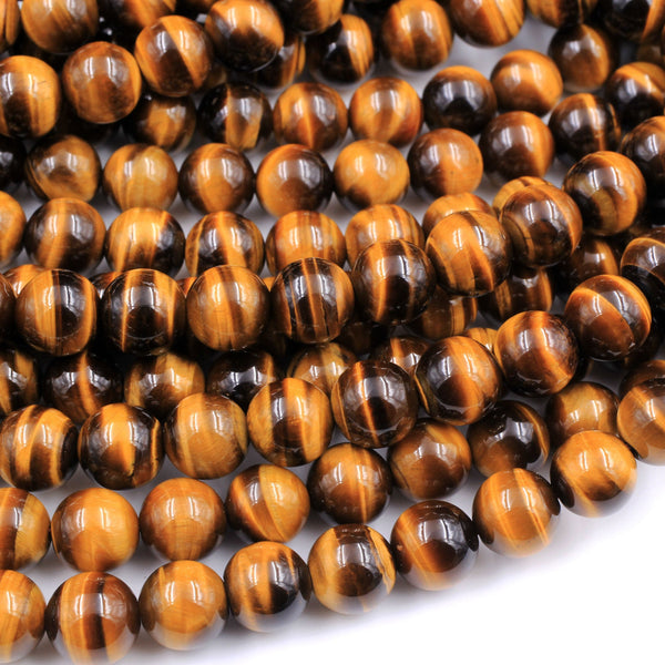 "A+ Natural Tiger Eye 6mm 8mm 10mm Round Beads Amazing Chatoyant Swirls 16"" Strand"
