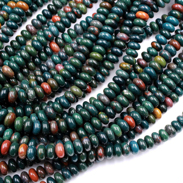 "Real Genuine Bloodstone 6mm 8mm Rondelle Beads Superior Quality~  100% Natural Bloodstone Full 16"" Strand"