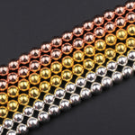 "Natural Hematite Round Beads Electroplated Bright Silver Rose Gold 2mm 3mm 4mm 6mm 8mm 16"" Strand"