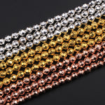 "Natural Hematite Faceted Round Beads Electroplated Bright Silver Rose Gold 2mm 3mm 4mm 6mm 8mm 16"" Strand"