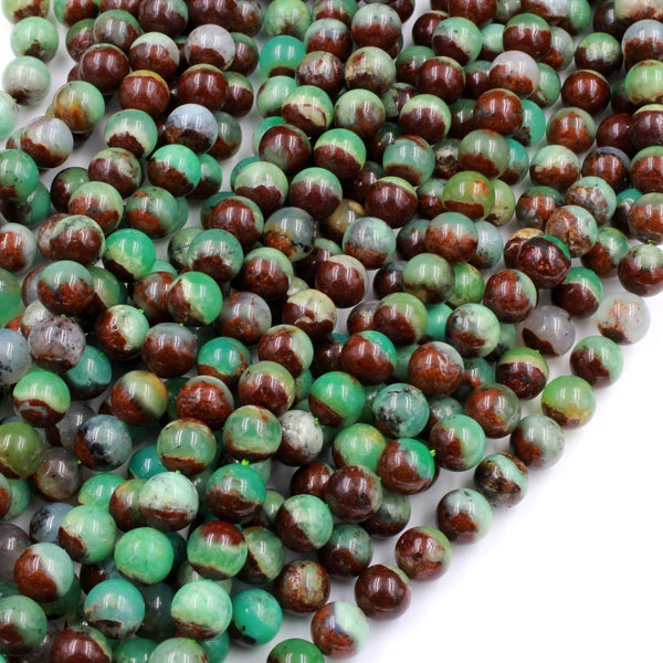 "Natural Bicolor Brown Green Chrysoprase Round Beads 6mm 8mm 10mm Beads 16"" Strand"