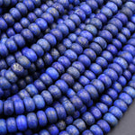 "AAA Matte Natural Blue Lapis 6x4mm 8x5mm Rondelle Beads Real Genuine Lapis Pyrite Specks High Quality Gemstone 16"" Strand"