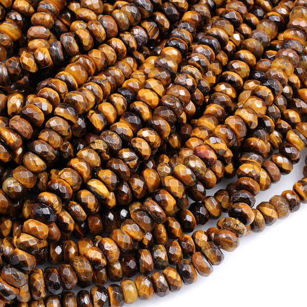 "Faceted Tiger Eye 6mm 8mm 10mm Rondelle Beads High Quality 16"" Strand"