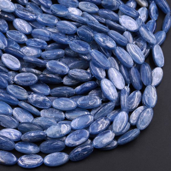 "Natural Blue Kyanite Long Oval Beads 14x8mm AA Grade Real Genuine Kyanite Gemstone 16"" Strand"