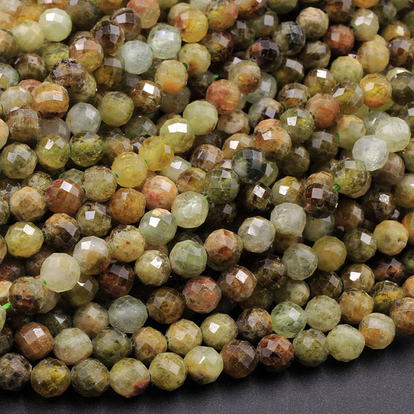 "Micro Faceted Natural Green Garnet 5mm Round Beads 16"" Strand"